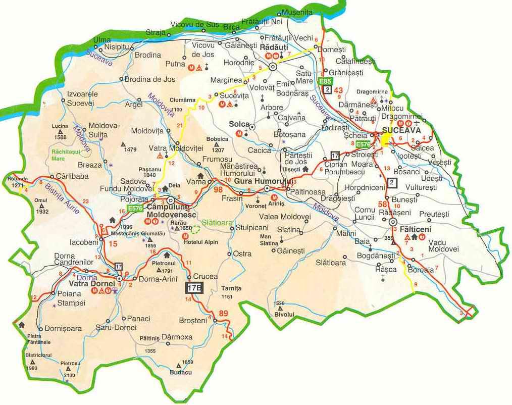 Landkarte der Südbukowina