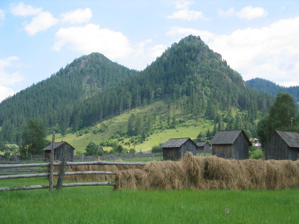 Die Berge Adam und Eva in Pojorâta. Aus einem Berg durch Verwitterung des weicheren Gesteins entstanden.